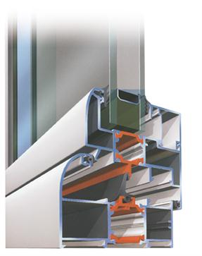 Transverse cross-section Aluminum profiles with thermal break